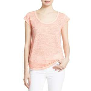 Joie XS Neyo Cap Sleeve Linen Tee Peach scoop neck